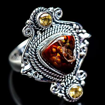 Large Mexican Fire Agate, Citrine Ring Size 9 (925 Sterling Silver)  - Handmade Boho Vintage Jewelry RING2824