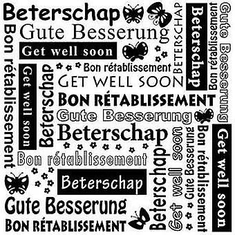 Nellie's Choice Embossing Folder Multi Language text Get well soon MLTXT003
