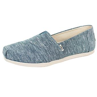Toms women's blue slub chambray classic canvas shoes