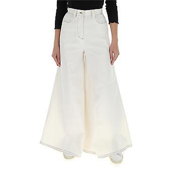 Sunnei Wt02ac064whte Women-apos;s White Cotton Jeans