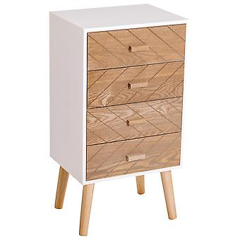 HOMCOM 4 Drawers Bedside Cabinet Wooden Table Storage Chest Organiser Night Stand Scandinavian Nordic Style Home Furniture