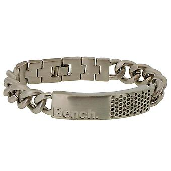 Bench Gents Matt Silvertone Metal ID Bracelet With Logo & Punch Holes 8.5 Inches