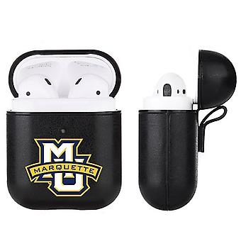 Marquette Golden Eagles NCAA Fan Brander Zwart Lederen AirPod Case