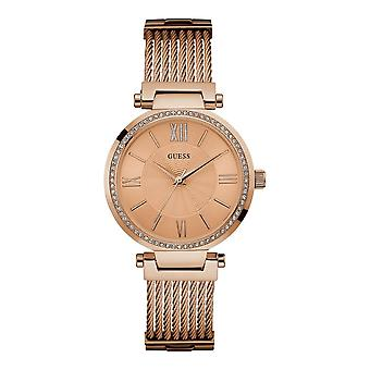 Guess Watches Guess Ladies Rose Gold Watch Wire Bracelet W0638L4