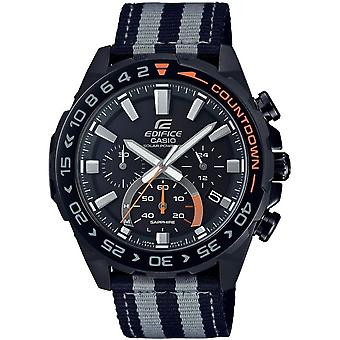 Casio Watches Efs-s550bl-1avuef Edifice Black & Grey Fabric Solar Powered Chronograph Men's Watch
