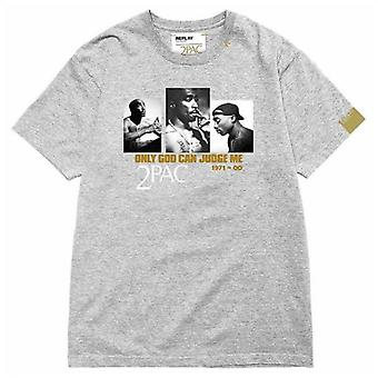 Replay Tribute 2pac Logo Crew Neck T-shirt Grijze M3946M