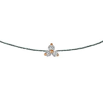 Choker Britney 18K Gold and Diamonds, on Thread - Rose Gold, Jade
