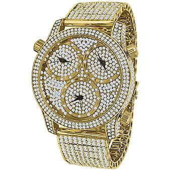 High Quality ICED OUT ZIRKONIA TIMEZONES Uhr - gold