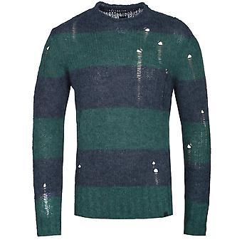Pretty Green Distressed Detail Block Stripe Navy & Green Sweater