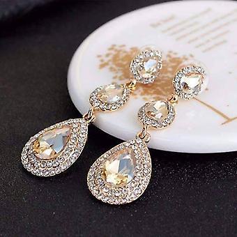 Classique Champagner dreifach Kristall Tropfen baumeln Ohrringe für Frau