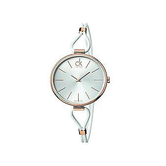 Calvin Klein K3V236L6 Selezione Silver Dial White Leather Ladies Orologio