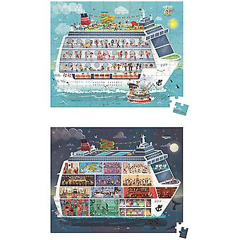 Janod Hat Boxed 2 Puzzles Cruise Ship