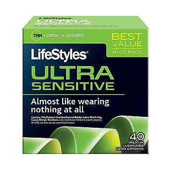 Lifestyles ultra sensitive lubricated latex condoms, 40 ea