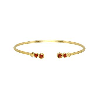 Geometric Fire Opal Open Bangle in Gold Plated Sterling Silver 270B010303925