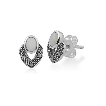 Art Deco Style Oval Opal & Marcasite Stud Earrings in 925 Sterling Silver 214E850101925