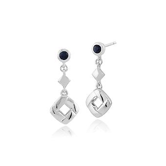 Classic Round Sapphire Square Crossover Drop Earrings in 925 Sterling Silver 270E020002925