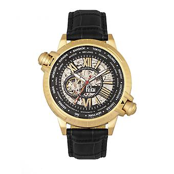 Reign Thanos Automatic Leather-Band Watch - Gold/Black