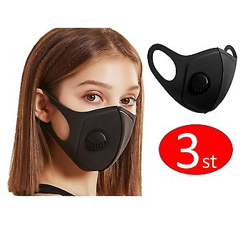 3 PACK Face Mouth Mask with breathing valve, Washable Reusable