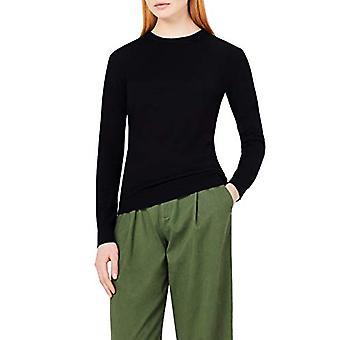Meraki Women's Merino Crew Neck Sweater, (Black), EU L (US 10)