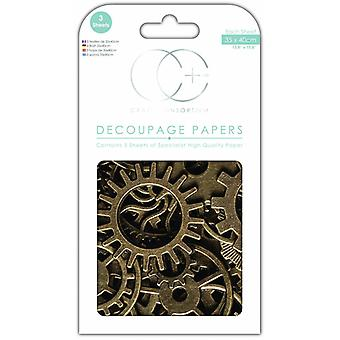 Craft Consortium Old Cogs Decoupage Papers