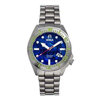Shield Atlantis Abalone Bracelet Watch w/Date - Bleu