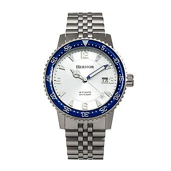 Heritor Automatic Dominic Bracelet Watch w/Date - Blue/Silver