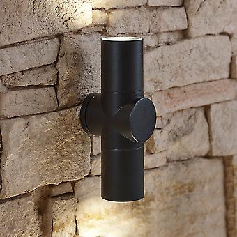 Modern Curved Black Outdoor Wall Light Up Down IP44 Outside Garden Porch Door