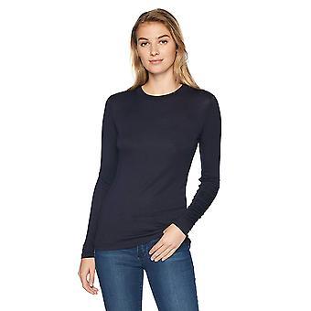 العلامة التجارية - Lark & Ro Women & apos;s Long Sleeve Crewneck Shirt, البحرية, متوسط