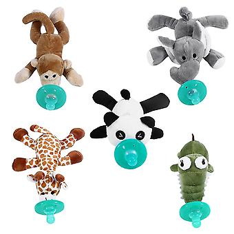 Cute Funny Newborn Baby Food-grade Silicone Cartoon Animal Pacifier With Soft Plush Toy- Bpa Free Dummy Nipple Teat Soother