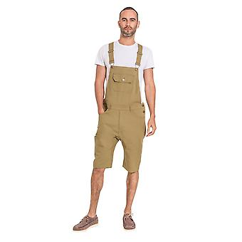Jesse mens slim fit katoenen dungaree shorts-Olive