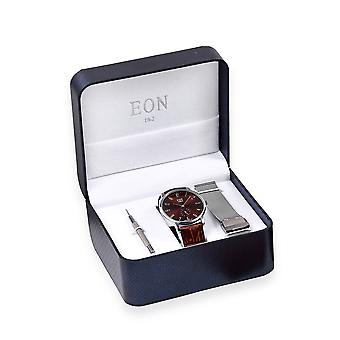EON 1962 3ATM Water Resistant Watch in with Interchangeable Leather, Steel Strap