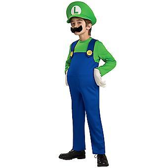 Traje de Luigi Deluxe Super Mario Bros Video juego fontanero de 1980 dibujos animados niños