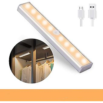 10 Led Wireless Motion Sensor Cabinet Light Magnetic Stick- Usb rechargeable