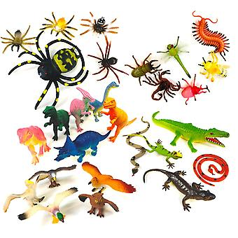 27pcs Toy Animals Figures Insects Dinosaurs Reptiles Birds Spiders 5-20cm