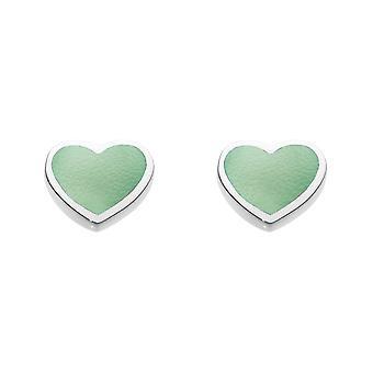 الندى الاسترليني الفضة دينكي الأخضر الأم من اللؤلؤ القلب مسمار الأقراط 3062GMP