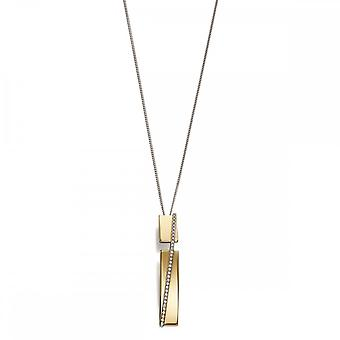 Fiorelli Silver Revised Pave Band In Yellow Gold & Clear Zirconia Pendant P4558C