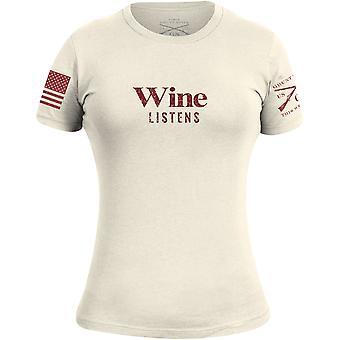 نخر نمط المرأة & ق النبيذ يستمع تي شيرت - الطبيعية