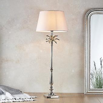 Endon Lighting Leaf & Evie - Tafellamp gepolijste nikkelplaat & roze katoen 1 Licht IP20 - E27