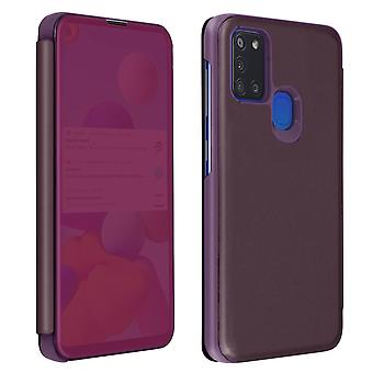 Back cover for Samsung A21s Translucent flap Mirror with Video support Purple