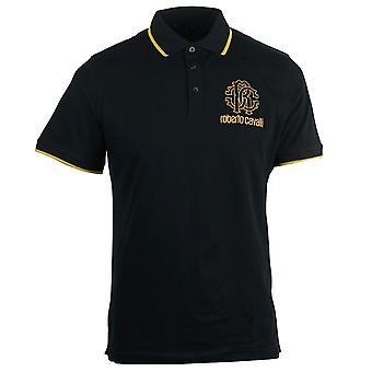 Roberto Cavalli Crest Logo Black Polo Shirt