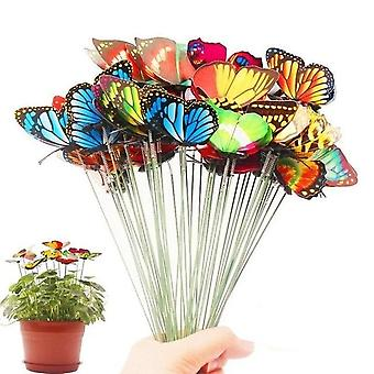 Bunch Of Butterflies Garden Yard Planter - Colorful Whimsical Butterfly Stakes