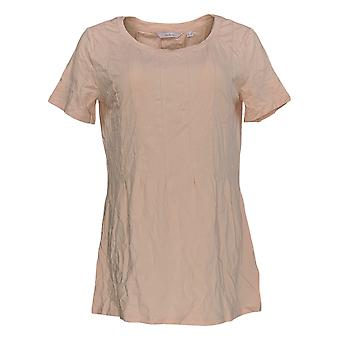 Anybody Women's Top Cozy Knit Short Sleeve Crew Neck Pink A367645