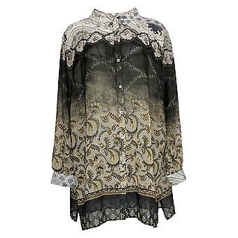 Susan Graver Kvinder's Petite Top Trykt Sheer Chiffon Shirt Sort A367782