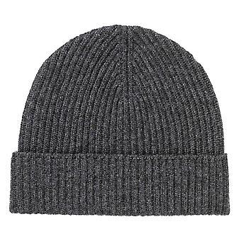 Johnstons of Elgin Ribbed Hat - Dark Granite Grey