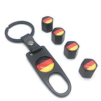 German Flag Set of 4 Black Car Tyre Air Dust Valve Stem Cap With Keyring Locking Tool