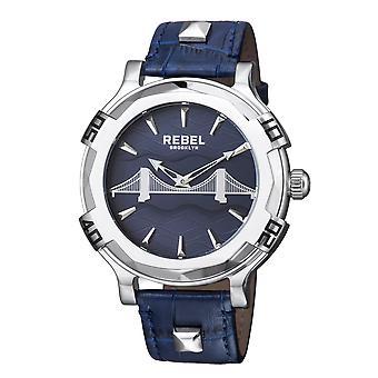 Rebel Men's Brooklyn Bridge Blue  Dial Leather Watch