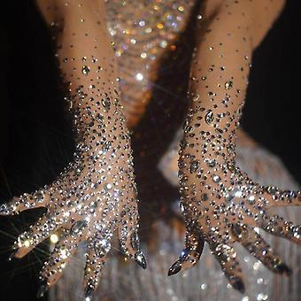 Luxurious Stretch Rhinestones Gloves Women Sparkly Crystal Mesh Long Nightclub
