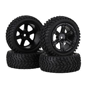 4 x Sort Skæg Mønster Tire + Plastic 6Spoke Rim for RC1:10 På Road Car