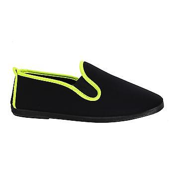 Estilo hilo dental Novelda Unisex Alpadrille Slip On Plimsolls Shoes 55301 Negro