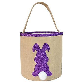 Purple Sparkle Bunny Burlap Tote